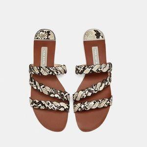 Zara Sandals with Braided Snakeskin Straps